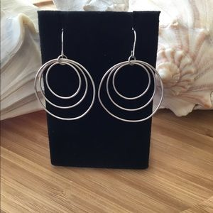 """Vintage Sterling Silver 3 Hoop Earrings 1 1/14"""""""